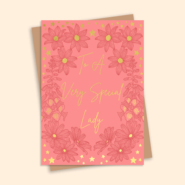 To A Very Special Lady Gold Foil Greetings Card
