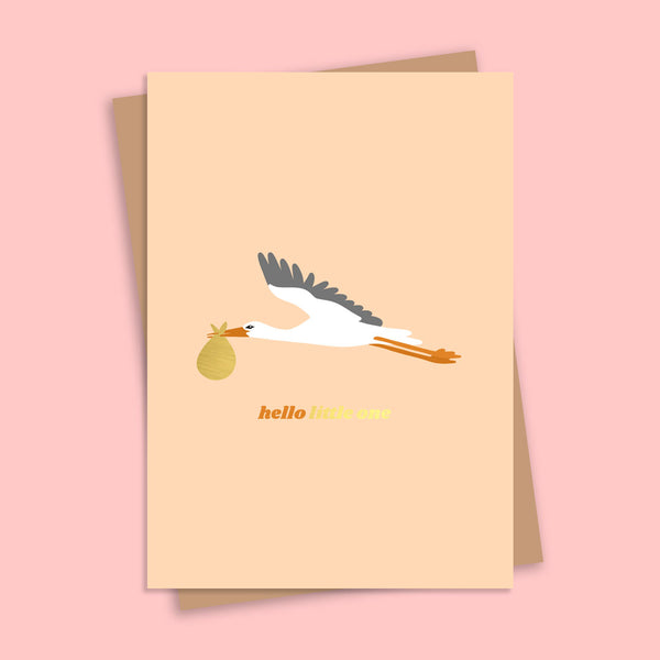 Hello Little One Stork Gold Foil Greetings Card