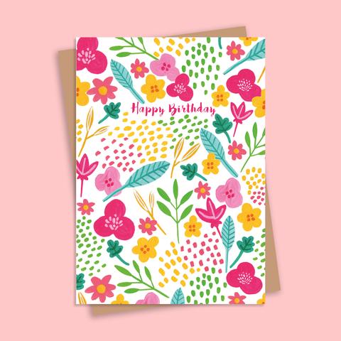Happy Birthday Bright Florals Illustrated Greetings Card
