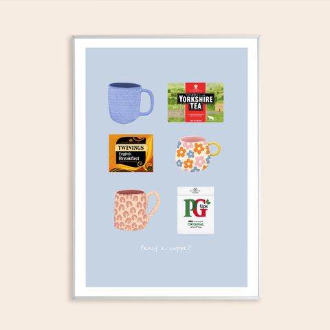 Fancy a cuppa? Digitally Illustrated Tea Print