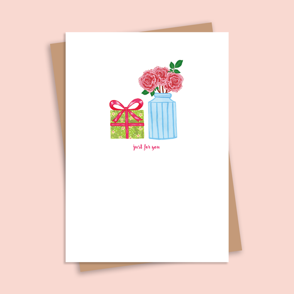 Just for You Illustrated Floral Greetings Card
