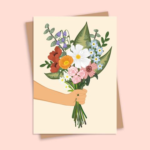 Flower Bunch Illustrated Floral Greetings Card