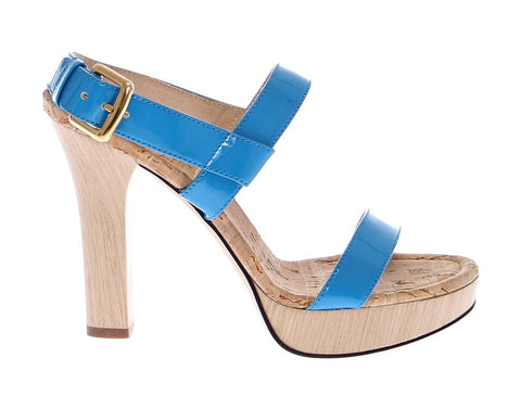 Blue Platform Leather Sandals Shoes
