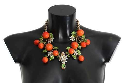 Gold Orange Fruit Crystal Statement Chain Necklace