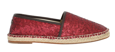 Red Sequined Logo Loafers Espadrilles