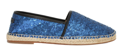 Blue Sequined Logo Loafers Espadrilles