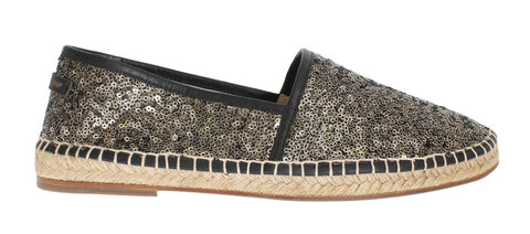 Black Gold Sequined Loafers Espadrilles