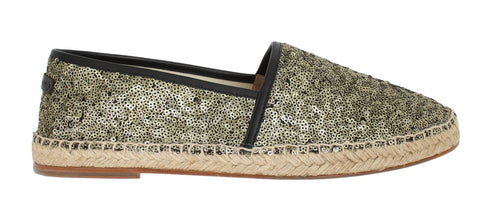 Gold Sequined Logo Loafers Espadrilles