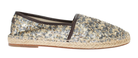 Gold Silver Sequined Logo Espadrilles