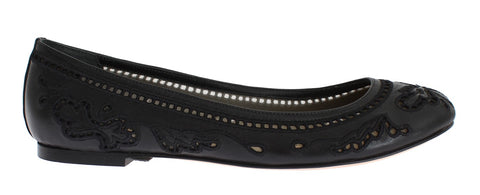 Black Leather Ricamo Ballet Flat Shoes