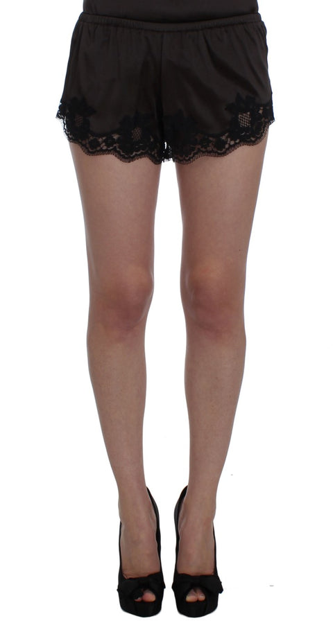 Brown Silk Stretch Lace Shorts