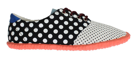 Polka Dotted Cotton Denim Laceup Shoes