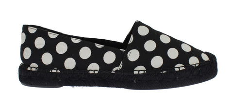 Black White Polka Dot Espadrilles Flats Shoes