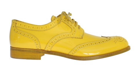 Yellow Leather Oxford Broques Flats Shoes