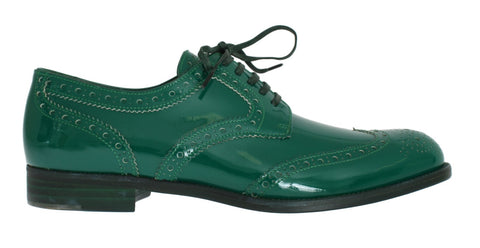 Green Leather Oxford Broques Flats Shoes