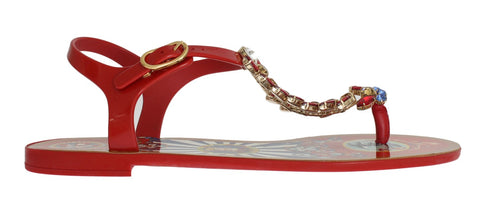 Red Crystal Carretto Print Sandals Shoes