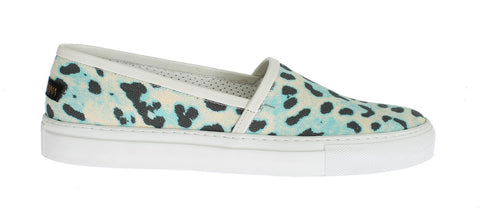 Blue Leopard Canvas Leather Espadrilles Shoes