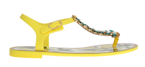 Yellow Crystal Lemon Print Sandals Shoes