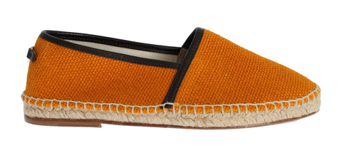 Orange Woven Linen Loafers Espadrilles Shoes