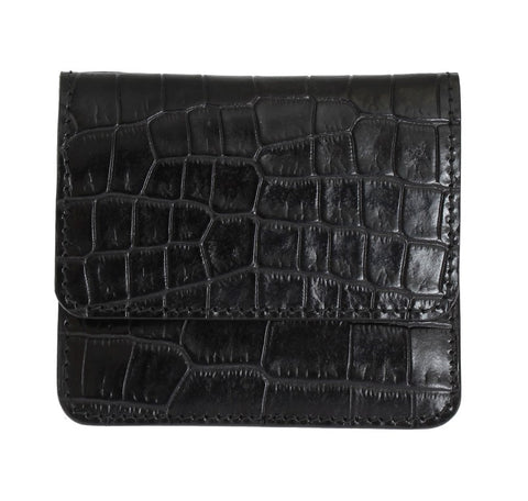 Black Pattern Leather Condom Case Holder