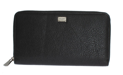 Black Leather Continental Zip Around Wallet