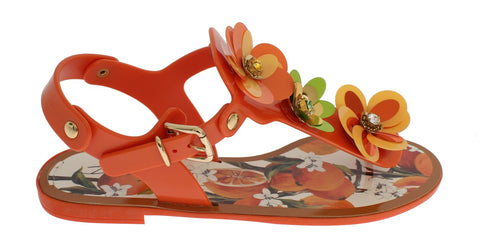 Orange Floral Print Sandal Shoes