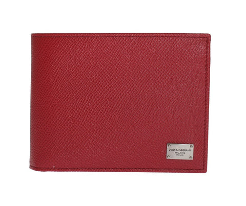 Red Dauphine Leather Bifold Wallet