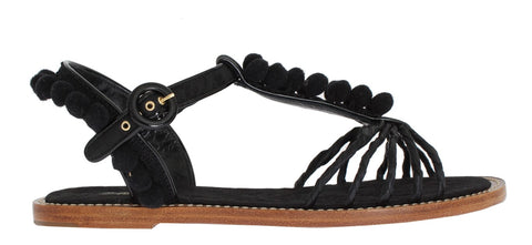 Black Torero Brocade Leather Sandal Shoes