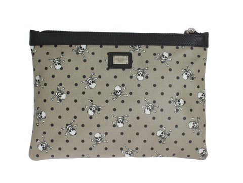 Green Canvas Skull Pattern Toiletry Clutch