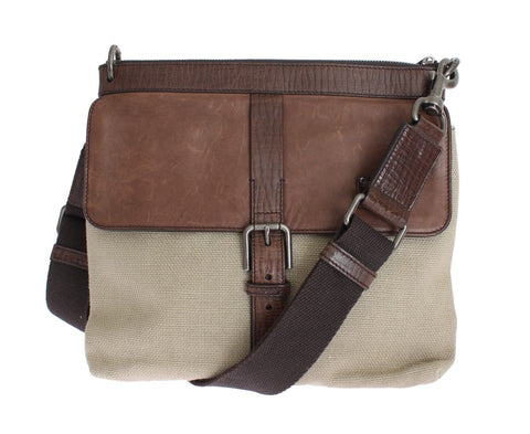 Brown Leather Linen Crossbody Messenger Bag
