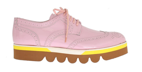 Pink Leather Wingtip Oxford Shoes