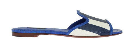 Blue Crocodile Leather Flat Sandals