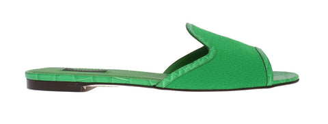 Green Wool Crocodile Flat Sandals