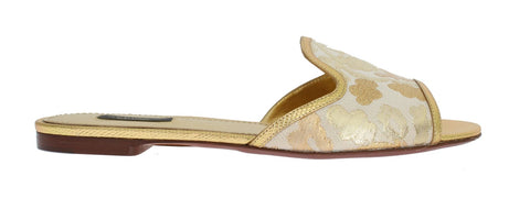 Gold Brocade Leather Flat Sandals
