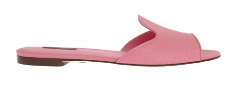 Pink Leather Dauphine Flat Sandals