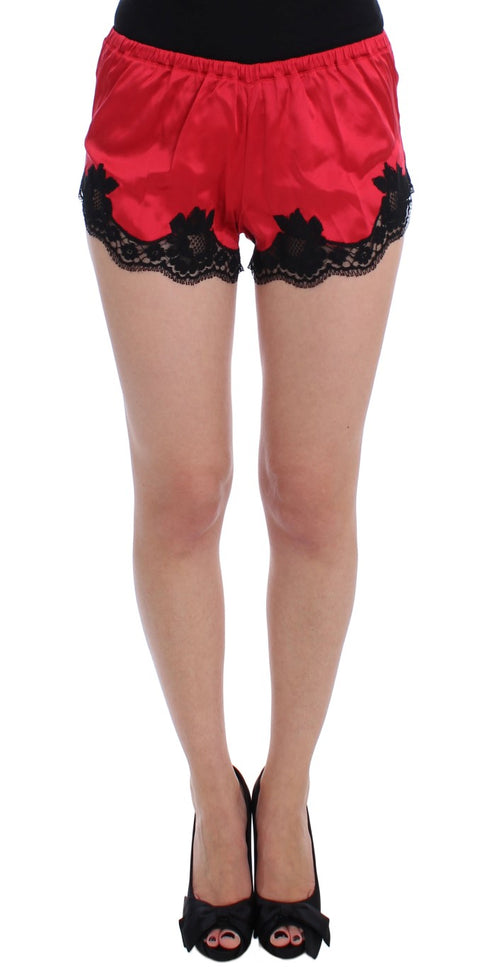 Red Silk Stretch Black Lace Lingerie Shorts
