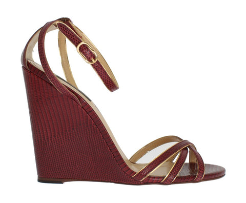 Bordeaux Leather Wedges Sandals
