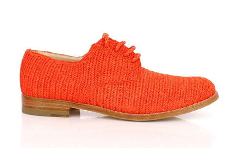 Orange Raffia Woven Oxfords Broques Shoes