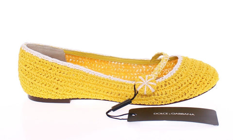 Yellow Viscose Knitted Ballet Flats Shoes