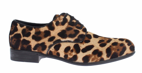 Brown Leopard Leather Hair Broques Shoes