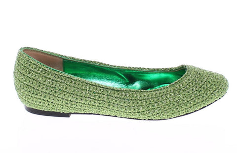 Green Knitted Ballerinas Ballet Flats Shoes