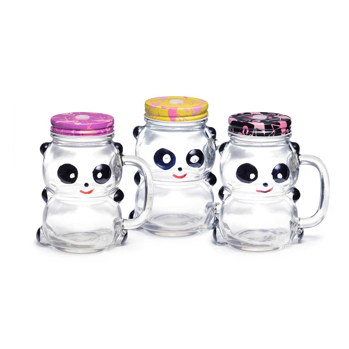 1099 Cute Panda Glass Mug w/Lid