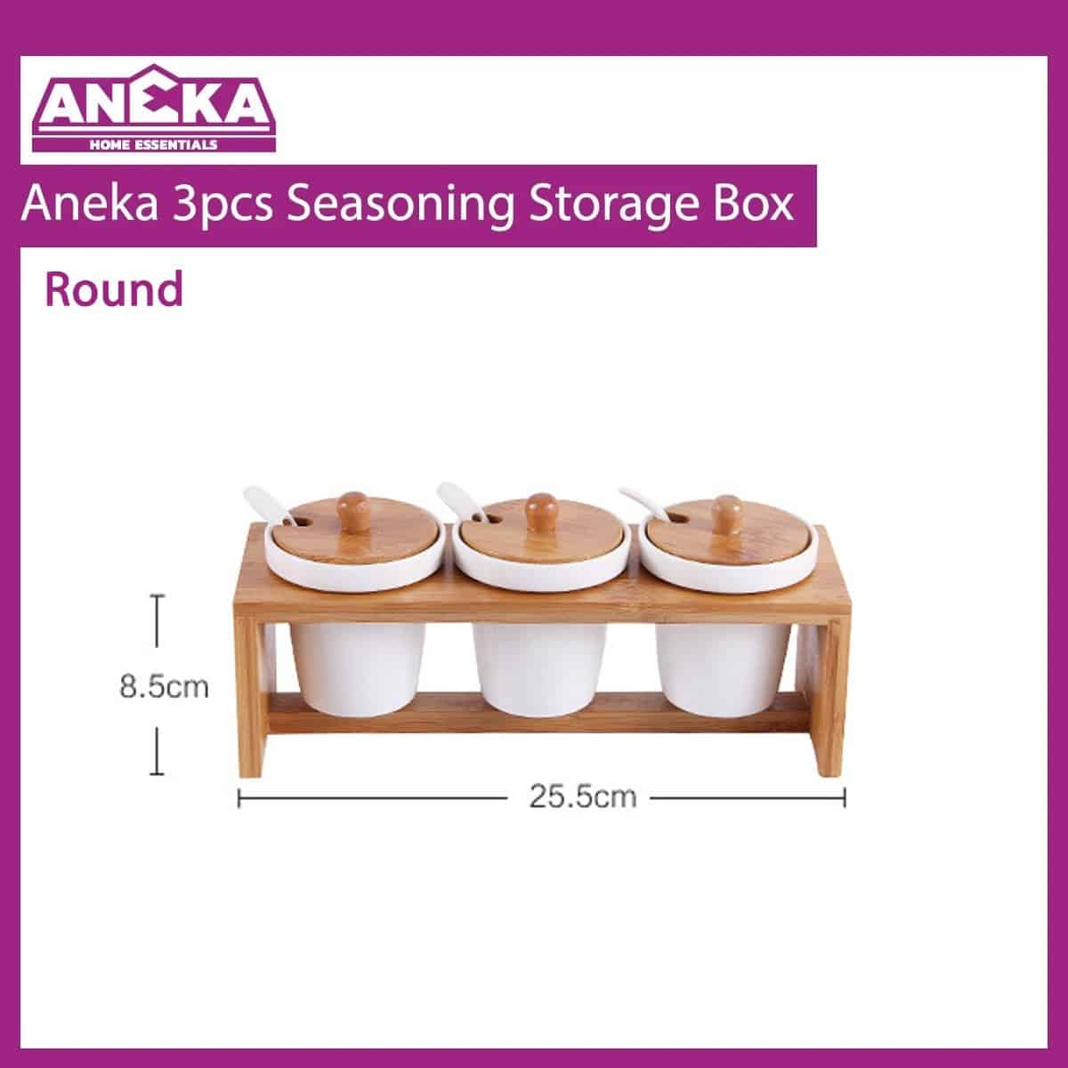 Aneka 3pcs Seasoning Storage Box - Round