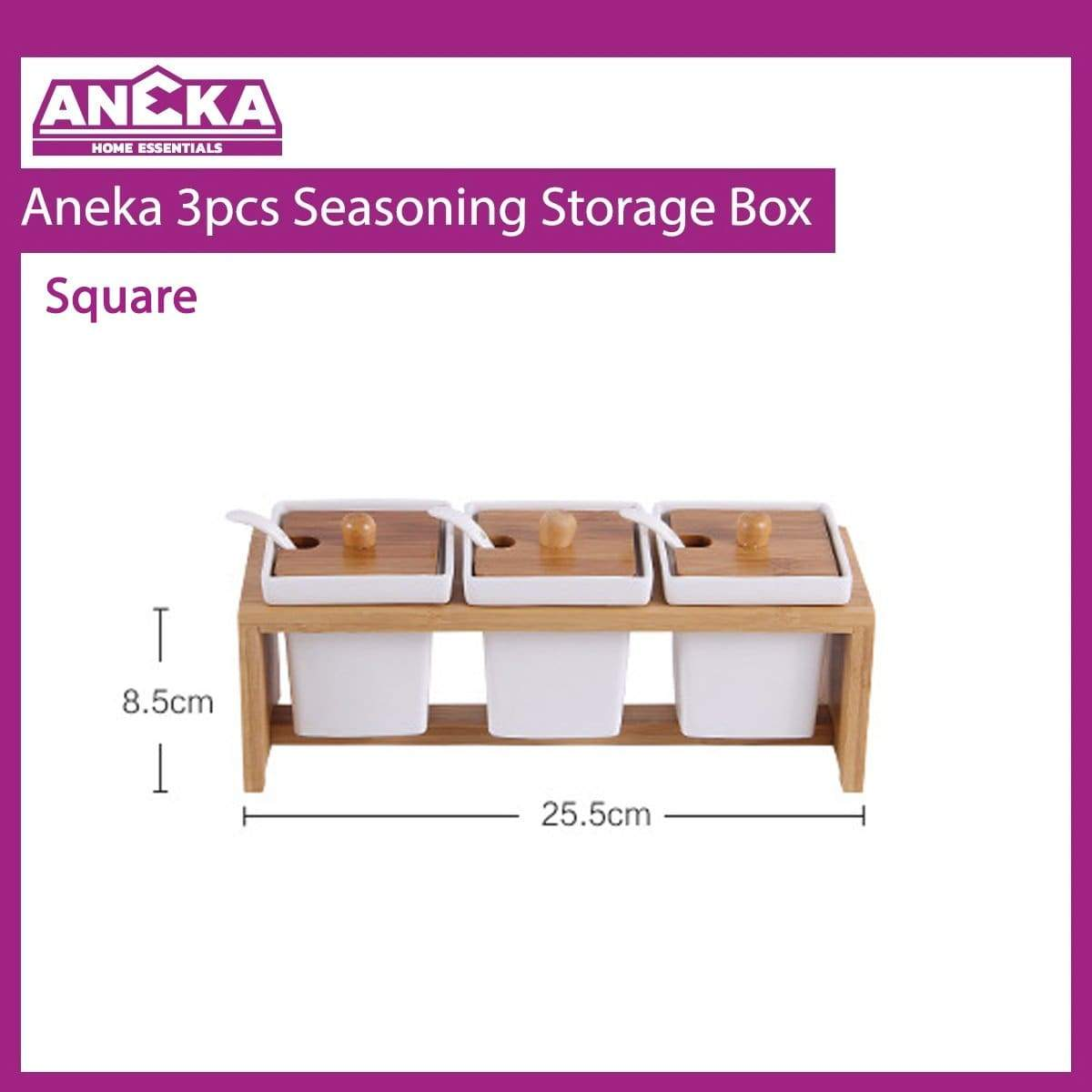 Aneka 3pcs Seasoning Storage Box - Square