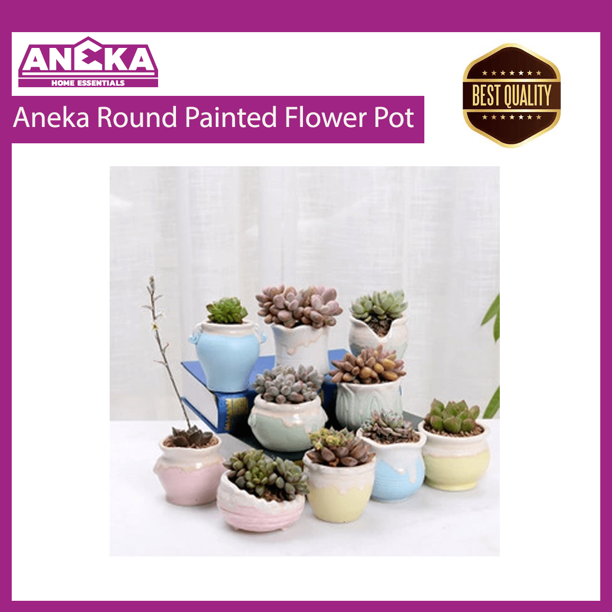 Aneka Round Painted Flower Pot
