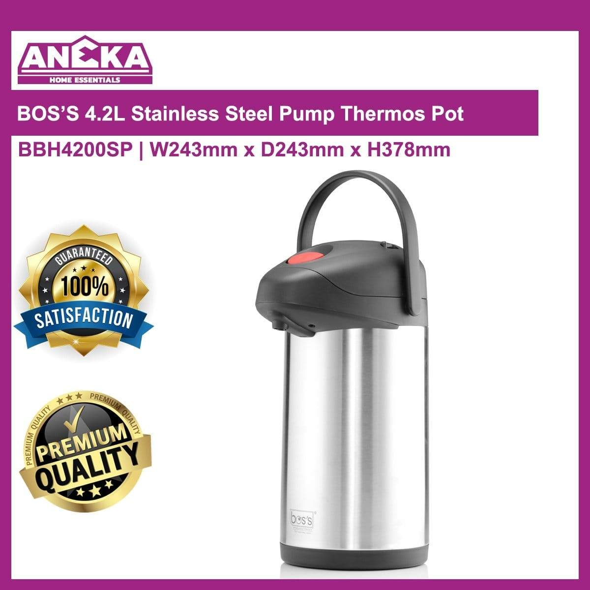 BBH4200SP 4.2lt BOS'S Stainless Steel Pump Pot