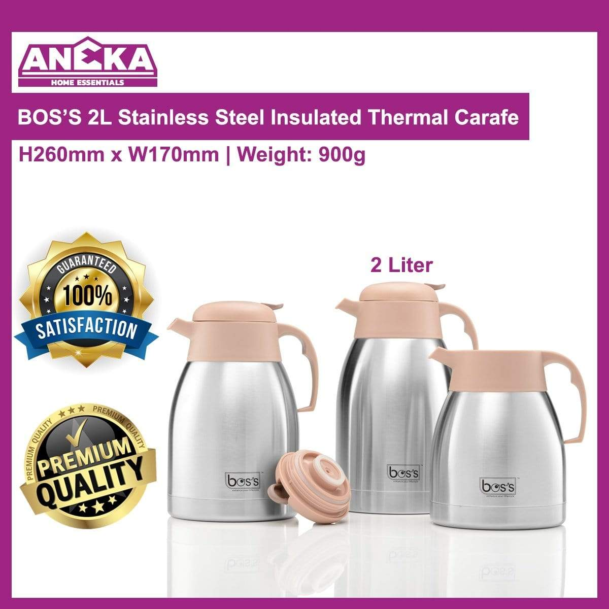 BCSK200 2.0lt BOS'S S/S Thermal Carafe