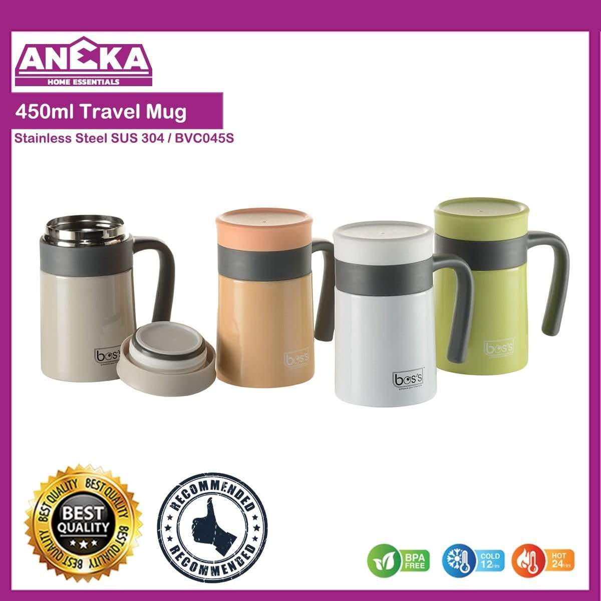 BOS'S 450ml S/S Insulated Travel Mug (BVC045S)