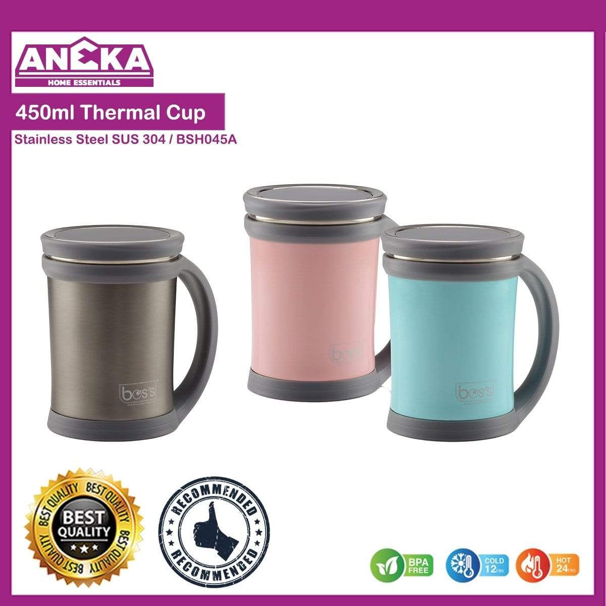 BOS'S 450ml S/S Thermal Cup (BSH045A)