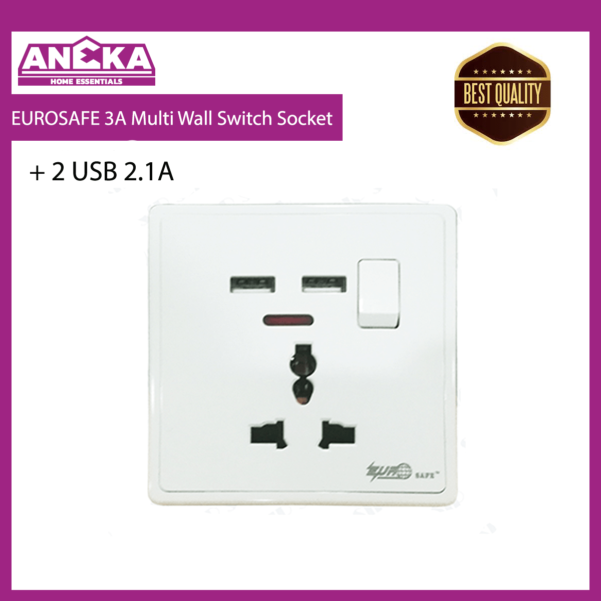 EUROSAFE 13A Multi Wall Switch Socket c/w 2 USB